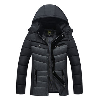 Mens Winter Thick Warm Stitching Casual Hooded Jacket