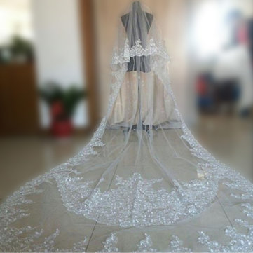 3.5M Bride White Ivory Elegant Cathedral Length Wedding Bridal Veil Comb Embroidered Edge