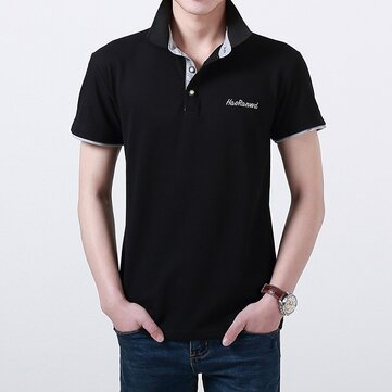 Mens Cotton Stand Collar Polo Shirt Summer Letter Embroidery Button Short Sleeves T-shirt