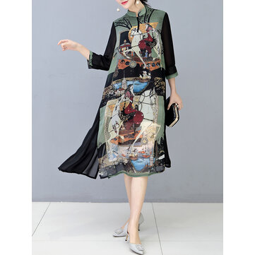 Plus Size Vintage Women Stand Collar Floral Printed Dress