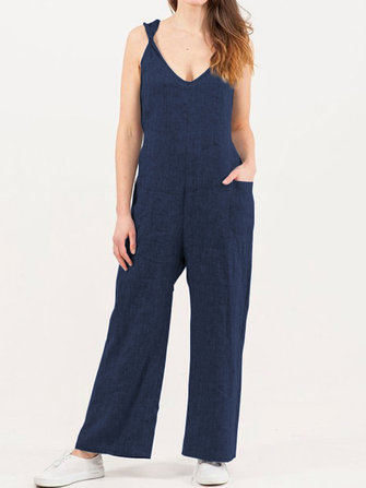 Pure Color Side Pocket Twisted Cotton Jumpsuit