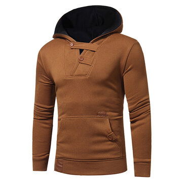 Men's Fashion Hit Color Hoodies Sweater Leisure Patchwork Cotton Button Soprts Hoodies Sweatshirts