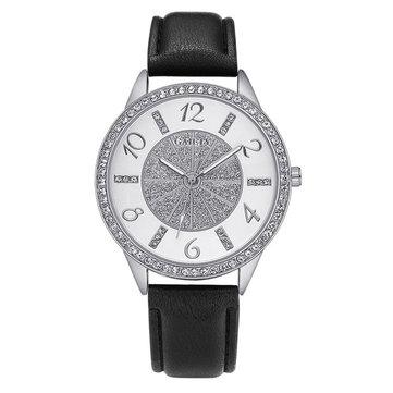 Strass cristal bracelet en cuir montre à quartz dames montre-bracelet