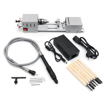 Mini Lathe Beads Machine Woodworking DIY Lathe Polishing Cutting Drill Wood Lathe Machine