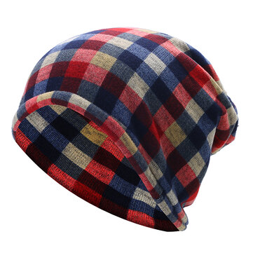 Mens Women British Style Grid Cotton Beanies Hat Thicken Velvet Warm Hat And Scarf