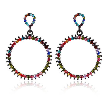 Women's Vintage Rhinestone Circle Earrings Colorful Pierced Fashion Earrings Jewelry