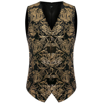 Mens Fashion Gold Nightclub Style Single-breasted Vest
