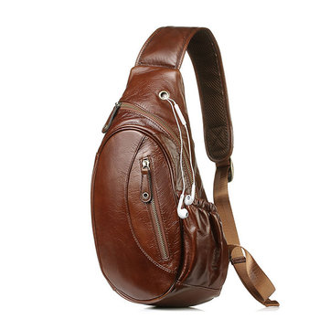 Men Vintage Genuine Leather Travel Riding Shoulder Messenger Sling Chest Bag