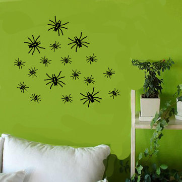 Creative Halloween Spider PVC Waterproof Wall Sticker Removable Vinyl Art Mural Decoration Stickers Environmental Protection Halloween Spider Wall Sticker Window Home Decoration Decal Decor