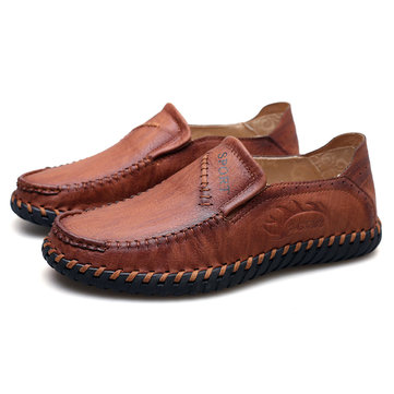 Men Hand Stitching Soft Casual Leather Loafers