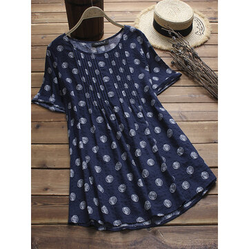 Vintage Women Polka Dot Print Pleated Short Sleeve Blouse