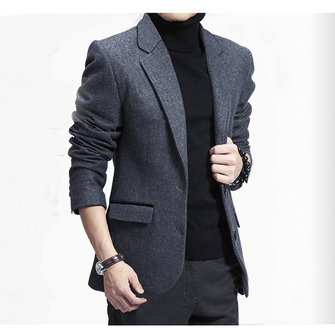 Autumn Winter Business Casual Slim Fitted Warm Suits Mens Fashion Wool Suit Coat