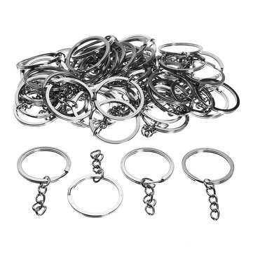 50Pcs Silver Tone Keyring Key Chain Findings Split Rings With Link For DIY Craft