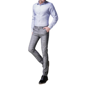 Fashion Lattices Cashmere Thick Casual Slim Suit Pants