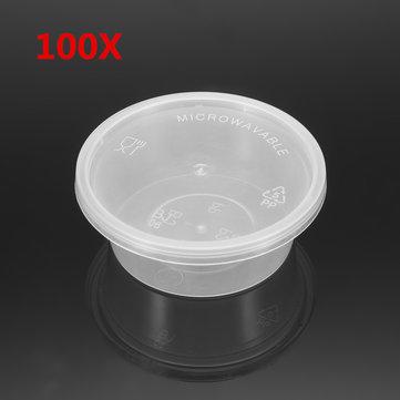 100pcs 50mL jetables en plastique jetables de sauce de soja condiment tasses emporter récipient avec couvercle
