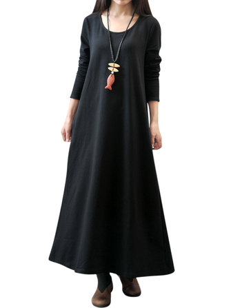 L-5XL Women Vintage Casual Robe Maxi Dress