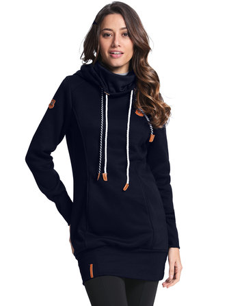 Casual Women Slim Drawstring Solid Color Hoodie Sweatshirt