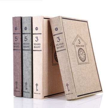 3 Years/5 Years Diary Retro Notebook Cotton Cover Vintage Notepad Memo Gift Office School Suppiles