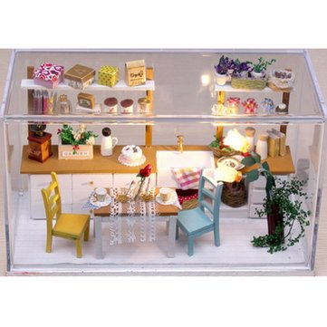 Hoomeda DIY Wooden Dollhouse Miniature Dining Room Model Kit With Cover LED Handicraft Kitchen House