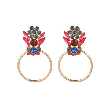 Elegant Colorful Rhinestone Piercing Drop Earrings