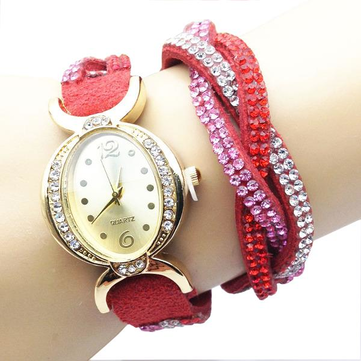 Casual Women Rhinestone Long Strap Little Dial Bracelet Wrist Watch
