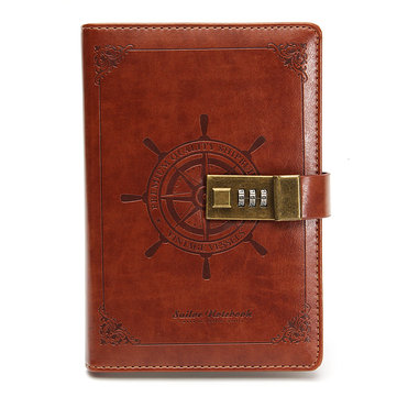 B6 Rudder Brown Leather Journal Blank Diary Note Book with Password Code Lock