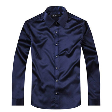 Men Fashion Simulated Silk Satin Pure Color Long-sleeved Lapel Shirts