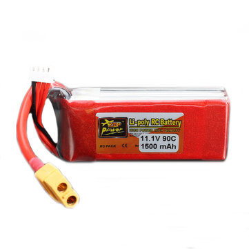 ZOP Power 11.1V 1500mAh 3S 90C Lipo Battery XT60 Plug With One Remote Battery Monitor