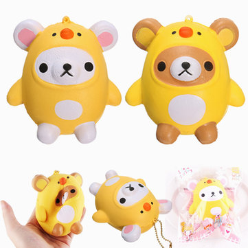 SanQi Elan Squishy Bear Wearing Chicken Costume Soft Slow Rising With Packaging Cartoon Decor Gift