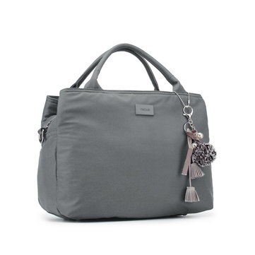 Women Nylon 3-Compartments Solid Handbag