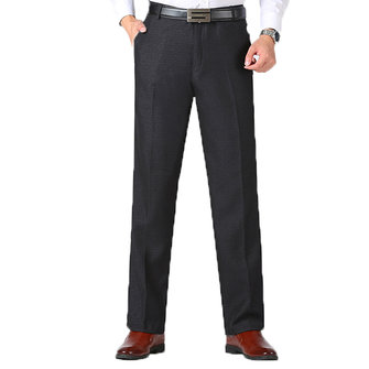 Autumn Winter Men's Casual Business Straight Suit Pants Solid Color Loose Thick Falt Front Pants