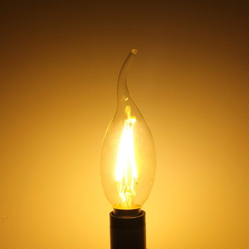 E14 2W Pure/Warm White Edison Filament LED COB Flame Lamp 85-265V