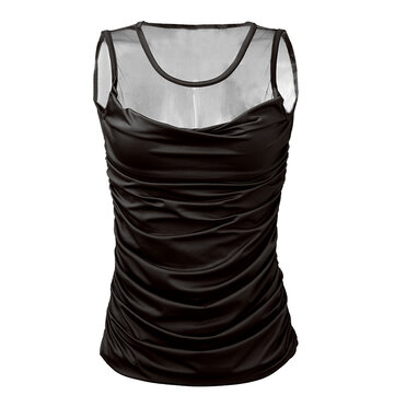 Sexy Women Mesh Patchwork Sheer Ruffle Stretch Vest Tank Top