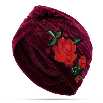 Winter Warm Vintage Flannelette Embroidered Beanie Caps