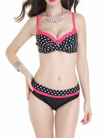 Women Sexy Polka Dot Printed Bikini Underwire Adjusted Two Piece Bathing Suit