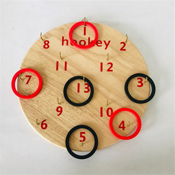 Wooden Board Hookey Ring Toss Game Disc Suspension Throwing Circle Play Board Game Toy