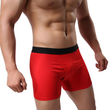 Mens Sexy Front Opening Cotton Solid Color U Convex Breathable Boxer Underwear