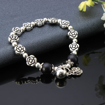 Silver Crystal Rose Simple Pendant Bead Bracelets For women