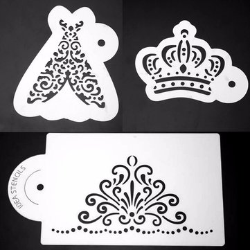 3Pcs Royal Plastic Cake Stencil Cookie Biscuit Fondant Coffee Stencil Wedding Cake Decorating Tool