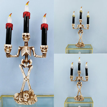 Halloween Skull Skeletal Stand LED 3 Candles Light Decorations Bar KTV Party Lamp