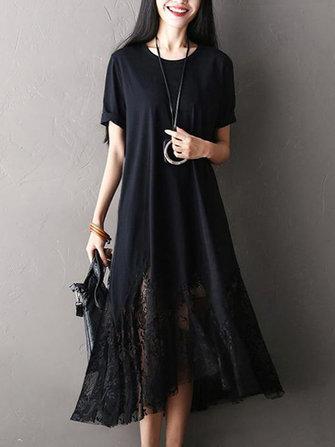O-NEWE Casual Women Lace Patchwork Short Sleeve Long Dress