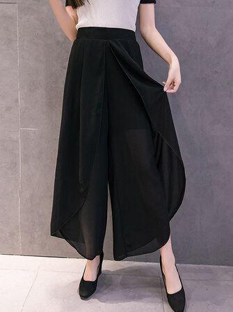 Women Chiffon Elastic Waist Split Wide Leg Pants