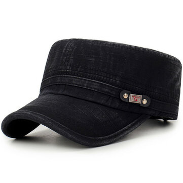 Men Sunscreen Adjustable Washed Cotton Flat Top Hats
