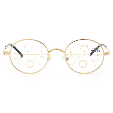 KCASA Progressive Multi-focus Reading Glasses Full Round Frame Multifocal Metal Glass 86021
