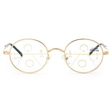 KCASA Progressive Multi-focus Reading Glasses Full Round Frame Multifocal Metal Glass 86021