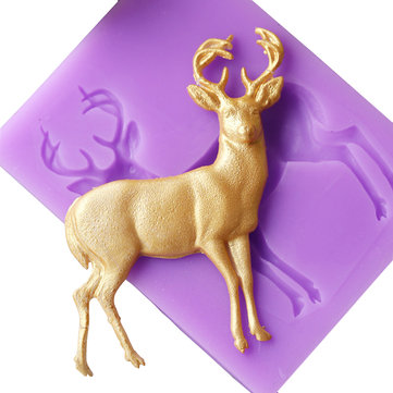 DIY Silicone Fondant Mold Christmas Deer Shape Cake Pastry Mould Kitchen Bakery Baking Tools