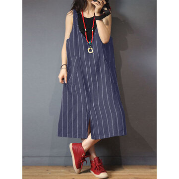 Women Loose Cotton V-Neck Sleeveless Stripe Pockets Dress