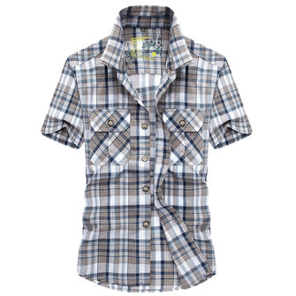 Summer Fashion Pockets Short Sleeve Button up Plaid Shirts