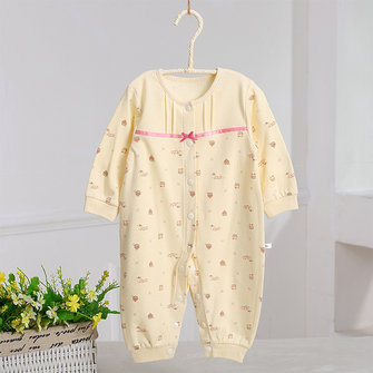 Lovely Baby Pattern One-Pieces Button O-Neck Cotton Suits