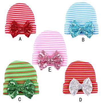 Xmas Newborn Infant Toddler Winter Autumn Warm Girls Baby Stripe Bowknot Beanie Cap Head Hair Accessories Hat